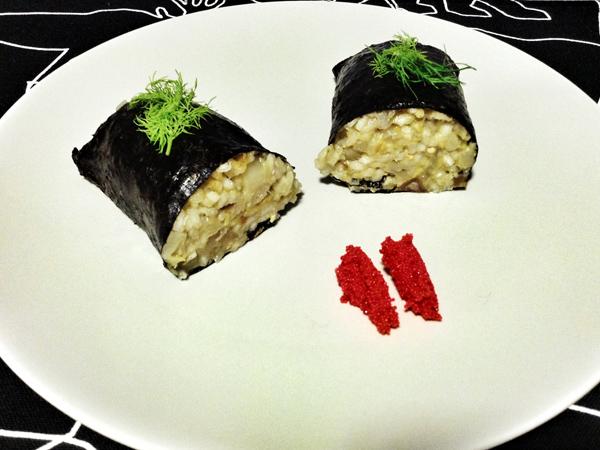 Makiu-risotto de berenjena, calabín y aguacate