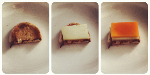 montando nuestras lonchas de queso y calabaza
