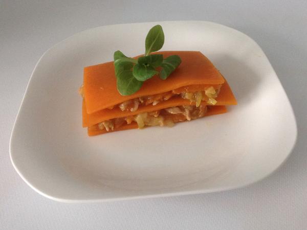 lasaña de calabaza con verduras