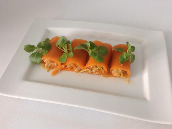 rollitos de calabaza rellenos de verduras