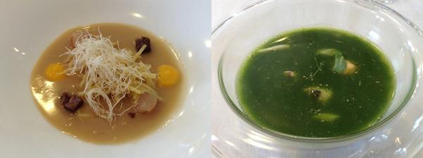Los fideos del cocido en un caldo de jamón y verduras y Sopa de pescados y mariscos especiada