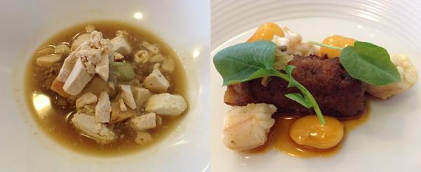 Crema de pichón y foie gras, uvas y el caldo del morteruelo y Rabo de cerdo con espardeñas y judías
