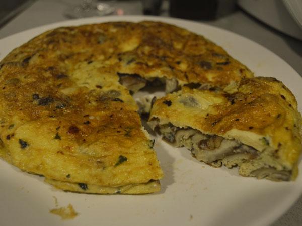 tortilla con setas shiitake